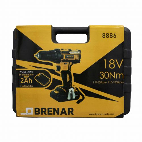 Wiertarko-wkrętarka akumulatorowa 18 V, 2 x 2 Ah Brenar 8886-9