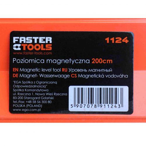 Poziomica z magnesem aluminiowa 200 cm Faster Tools 1124-4