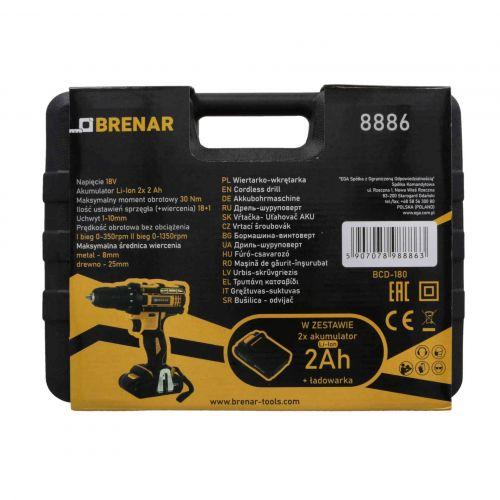 Wiertarko-wkrętarka akumulatorowa 18 V, 2 x 2 Ah Brenar 8886-10
