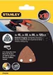 Papier ścierny kpl.10 szt. (40,60,80,120) - STANLEY STA32348-XJ